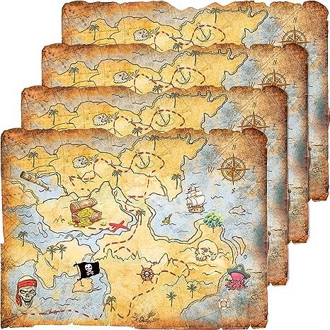 Outus 4 Piezas Mapa de Tesoro Accesorios de Fiesta Mapa de Joyas de Mente Dorada para Disfraz de Fiesta de Pirata Cumpleaños Estilo Vintage Retro: Amazon.es: Juguetes y juegos