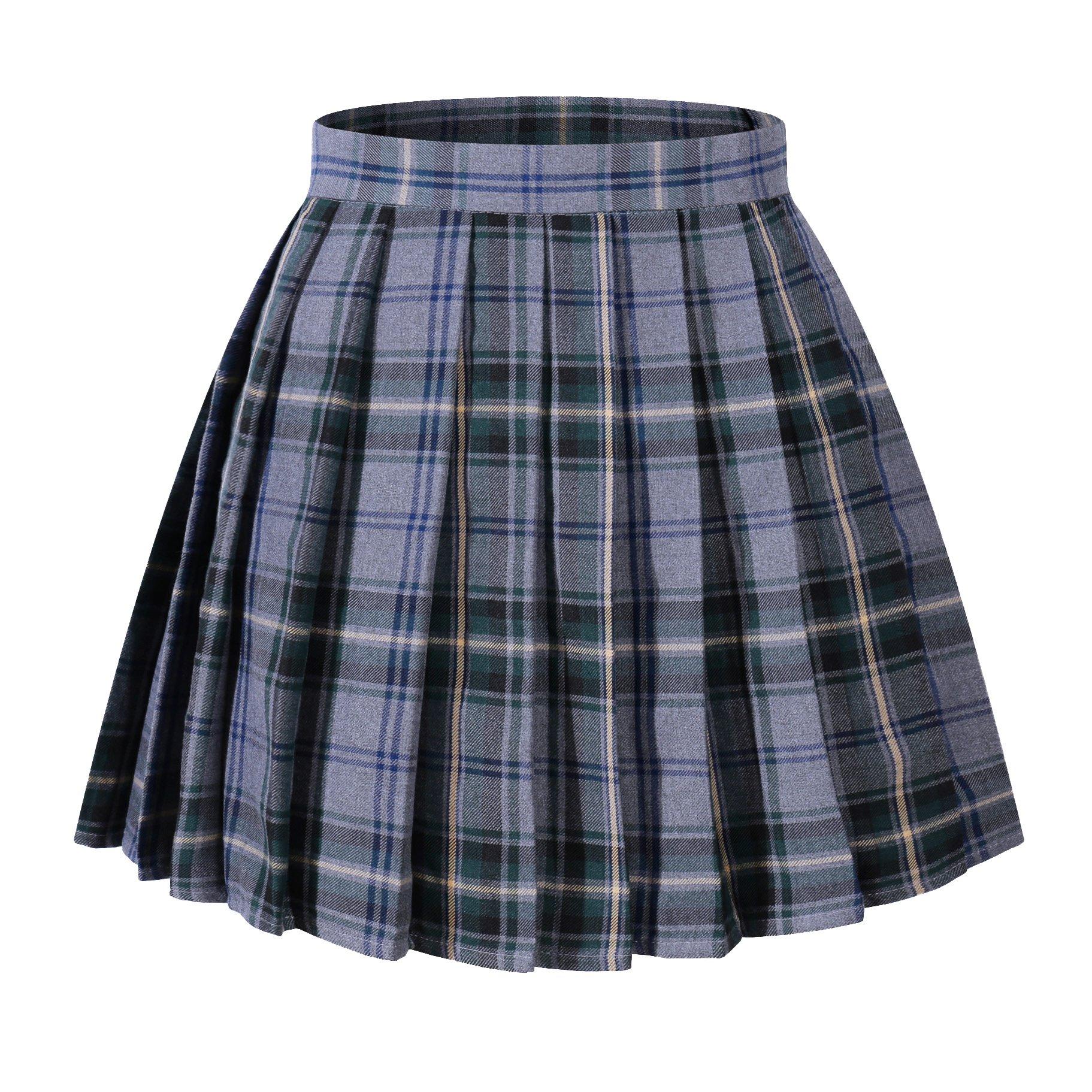 Beautifulfashionlife Girl's A-line Kilt Plaid Pleated Skirts (XS,Light Blue Mixed Green)