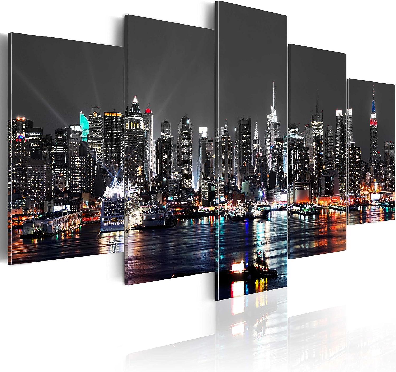 murando - Cuadro 200x100 cm - New York City Impresión de 5 Piezas Material Tejido no Tejido Impresión Artística Imagen Gráfica Decoracion de Pared - Ciudad Noche d-A-0022-b-n
