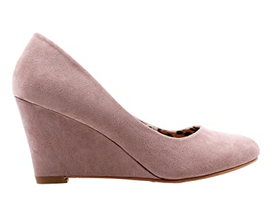 Sexy Slip on Faux Suede Office Lady Narrow Round Toe Sexy Womens Dress  3 quot  Wedges 2ea7e2514125