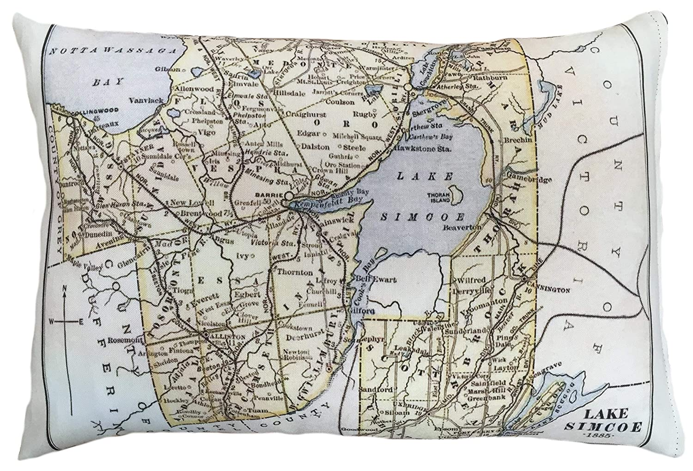 Lake Simcoe Vintage Map Pillow