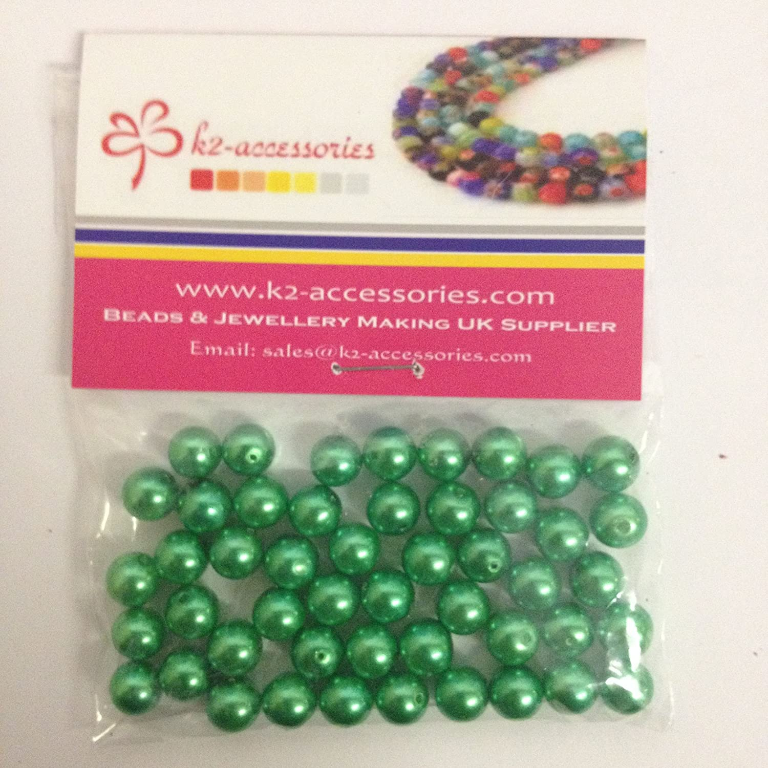 100 pieces 8mm Glass Pearl Beads - Spring Green - A1037 k2-accessories