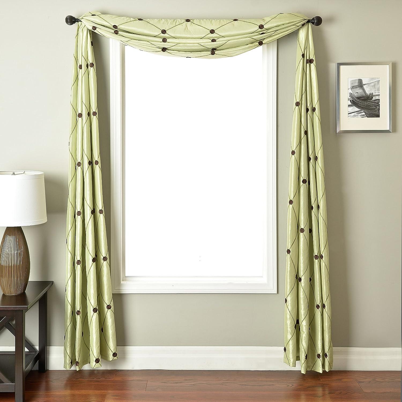 Softline Home Fashions REMchoplgrnSC Millau 6 Yard Window Scarf, Chocolate Green