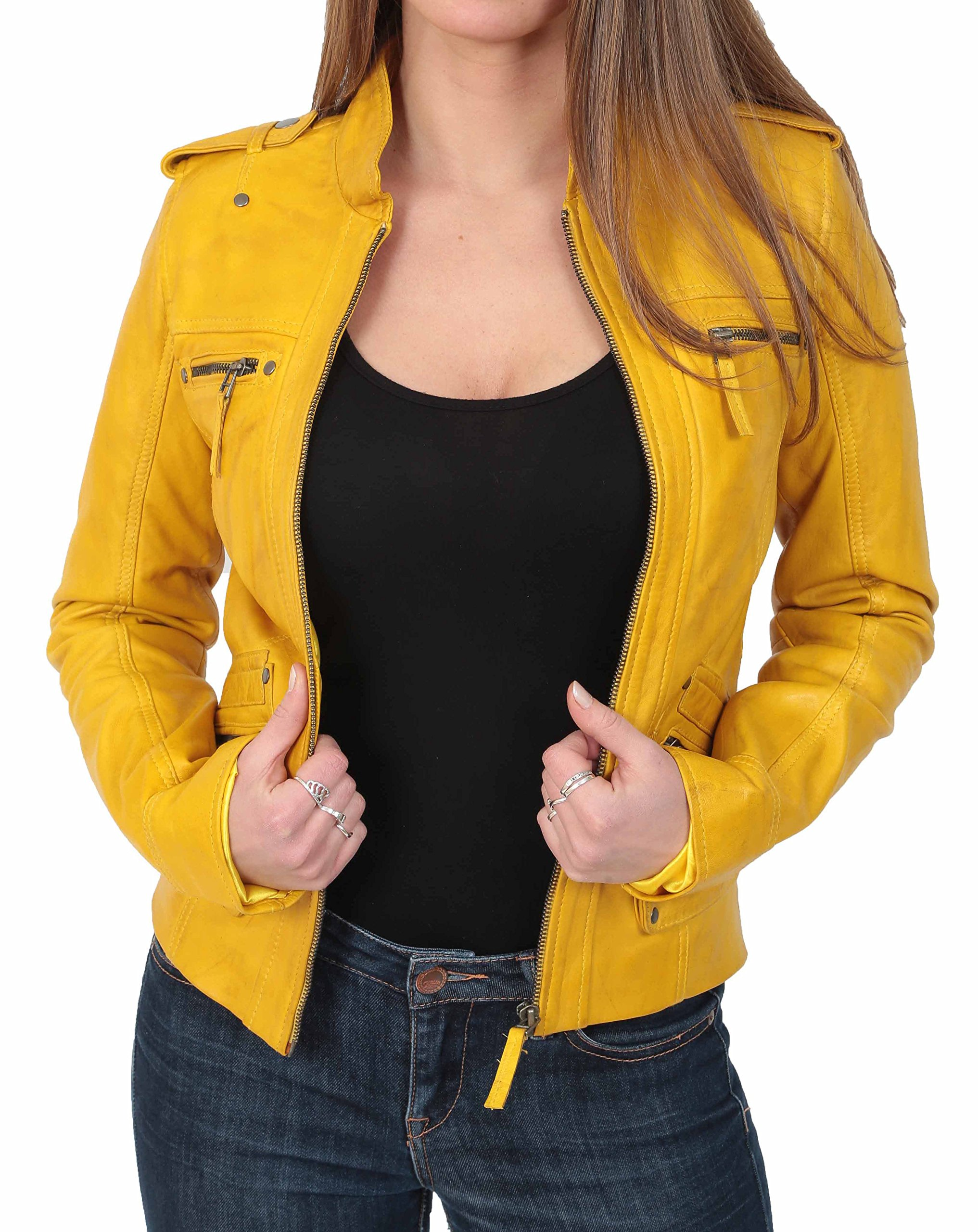 Ladies Leather Biker Style Casual Zip Up Jacket Standing Collar Laura Yellow (XX-Large)