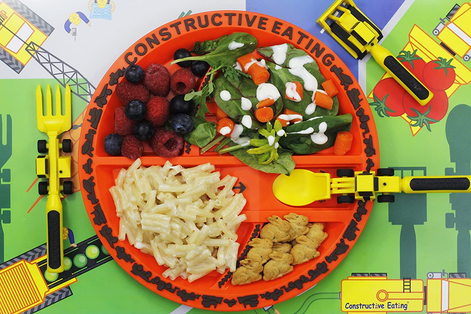 Infants and Placemat for Toddlers Flatware Set is Made with FDA Approved Materials for Safe and Fun Eating Babies and Kids Constructive Eating Construction Combo with Utensil Set Plate