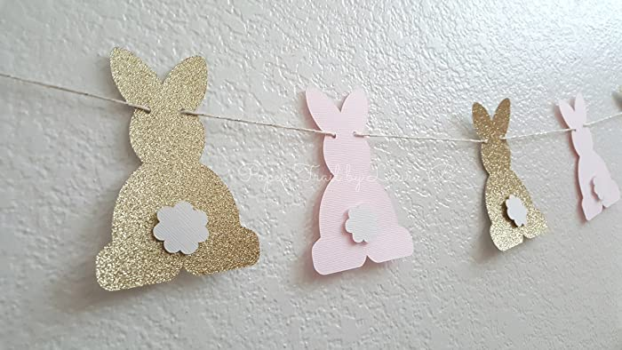 pink and gold bunny garland birthday party