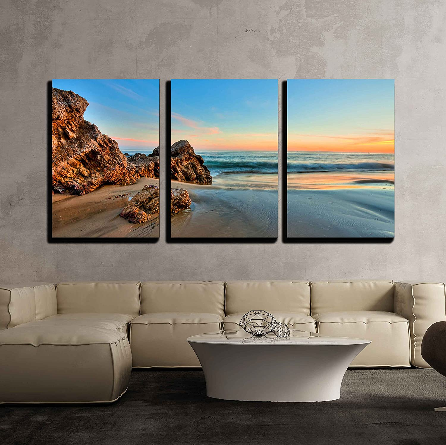 Wall26 3 Piece Canvas Wall Art Sunset At California Beach Modern Home Art Stretched And Framed Ready To Hang 16 X24 X3 Panels Posters Prints Amazon Com