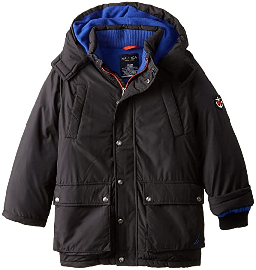 Nautica Big Boys' Solid Heavyweight Snorkel Coat, Black, Small