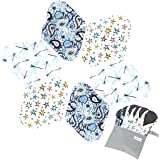 7pcs Set 1 pc Mini Wet Bag +6pcs Absorbent Reusable Sanitary Pads/Washable Bamboo Cloth Menstrual Pads (M,Elegant)