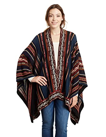 166a72127 Invisible World Women's Poncho Alpaca Wool 100% Ruana Cape Winter Aguayo  Blue at Amazon Women's Coats Shop