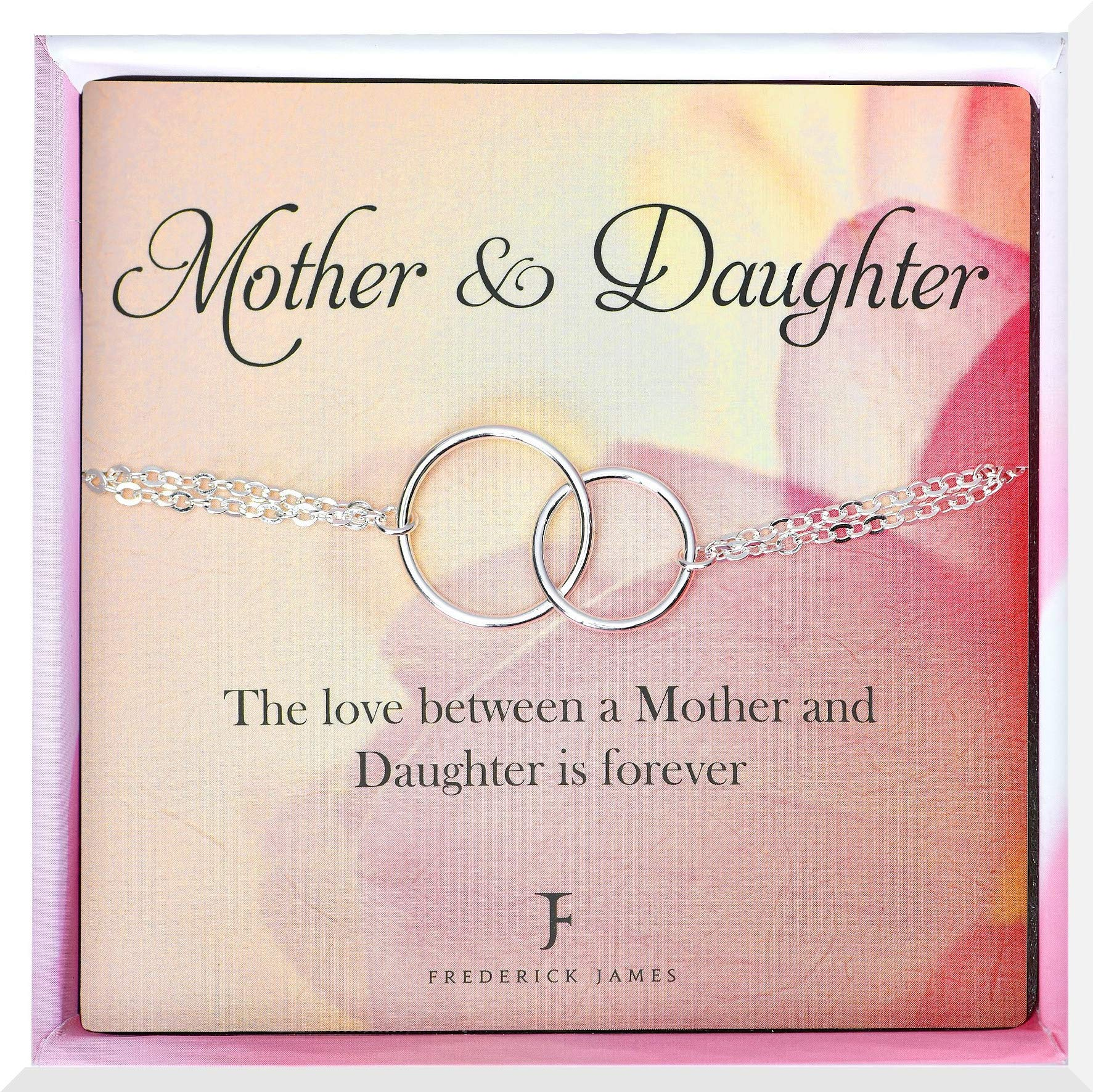 Mother Daughter Bracelets - Silver Infinity Circle Bracelet – Mothers Day Gifts | Mom & Daughter Birthday Jewelry | Beautiful Gift Box Included