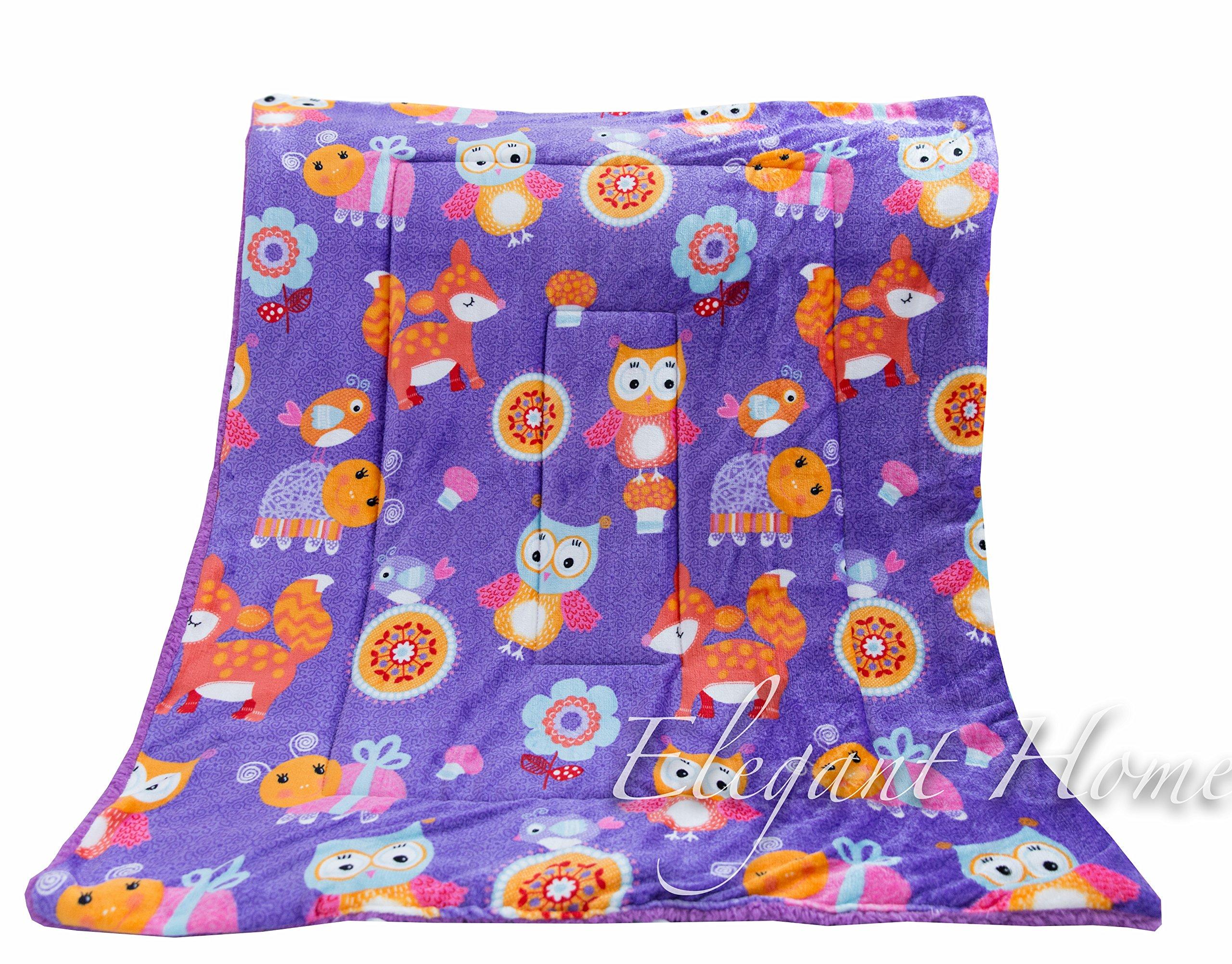 Elegant Home Kids Soft & Warm Sherpa Baby Toddler Girl Sherpa Blanket Purple Owls Birds Flowers Printed Borrego Stroller or Toddler Bed Blanket Plush Throw 40X50 # Owl