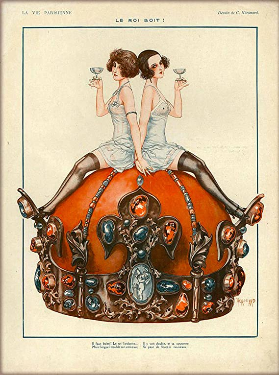 1920s La Vie Parisienne Le Roi Boit! Two Girls Sitting on Crown Sipping Champagne French Nouveau from a Magazine France Travel Advertisement Picture Art Poster Print. Poster measures 10 x 13.5 inches