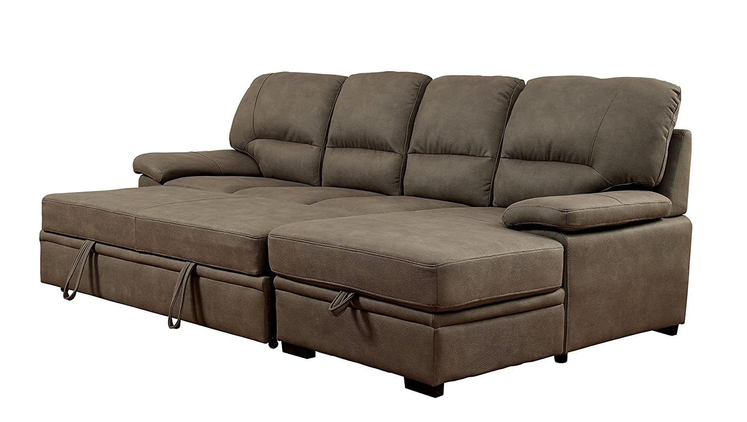 Furniture Of America Canby Contemporary Sectional With Sleeper Chaise Ash Brown