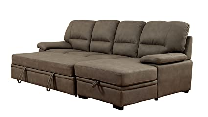 Beau Furniture Of America Canby Contemporary Sectional With Sleeper U0026 Chaise,  Ash Brown