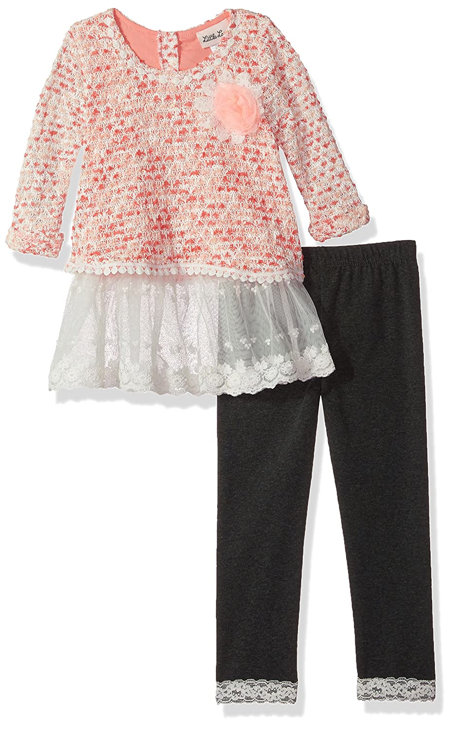 Little Lass Girls 2 Pc Tulle Trim Legging Set