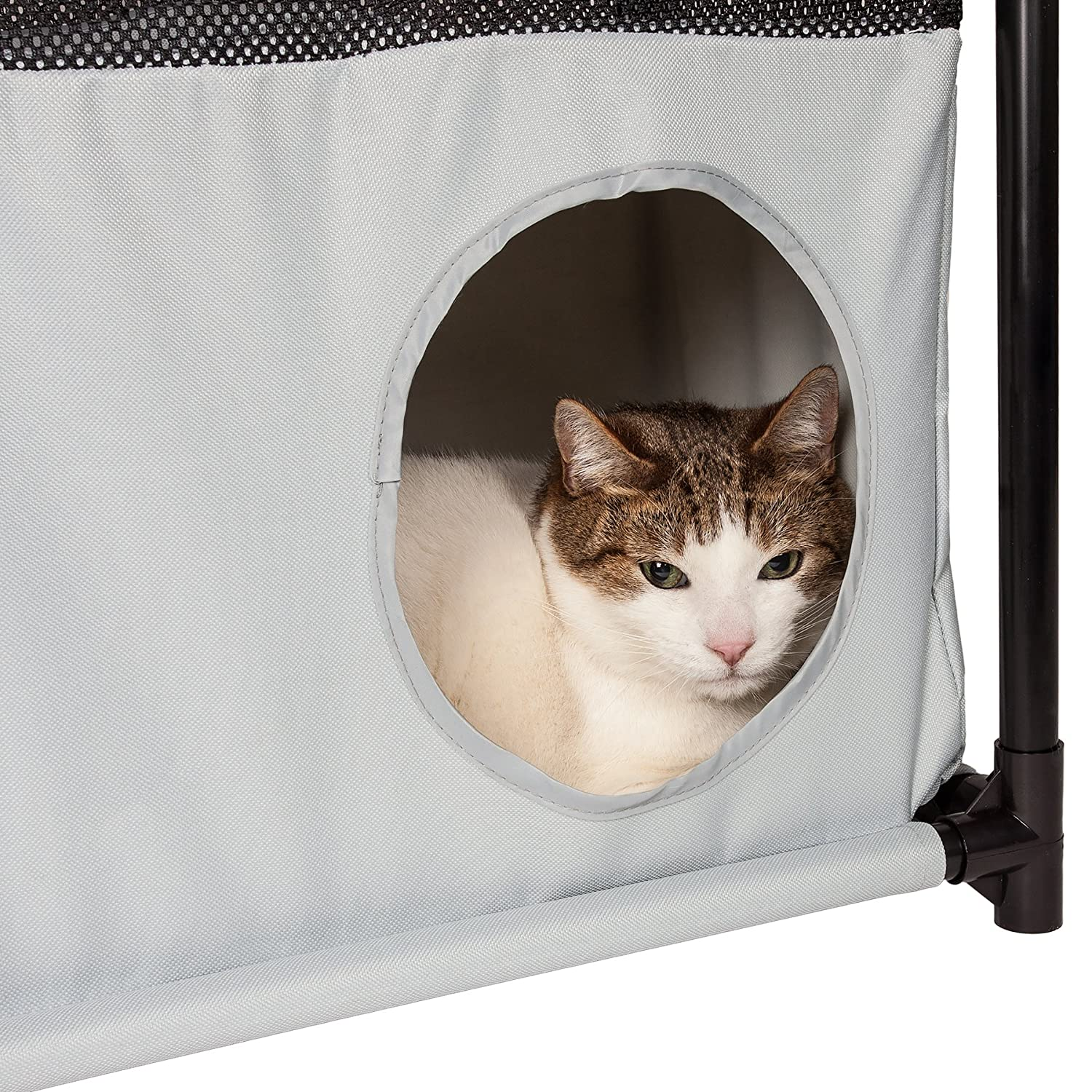 One Size Black//White Pet Life Kitty Square Obstacle Soft Folding Sturdy Play Active Collapsible Travel Pet Cat House Furniture
