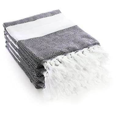 Turkuoise Peshtemal - Set of 4 - Genuine Flat Woven Turkish Towel - Pareo - Sarong - Picnic Blanket - Yoga Mat - Fouta (100% Cotton) (Diamond-Set of 4(Black))