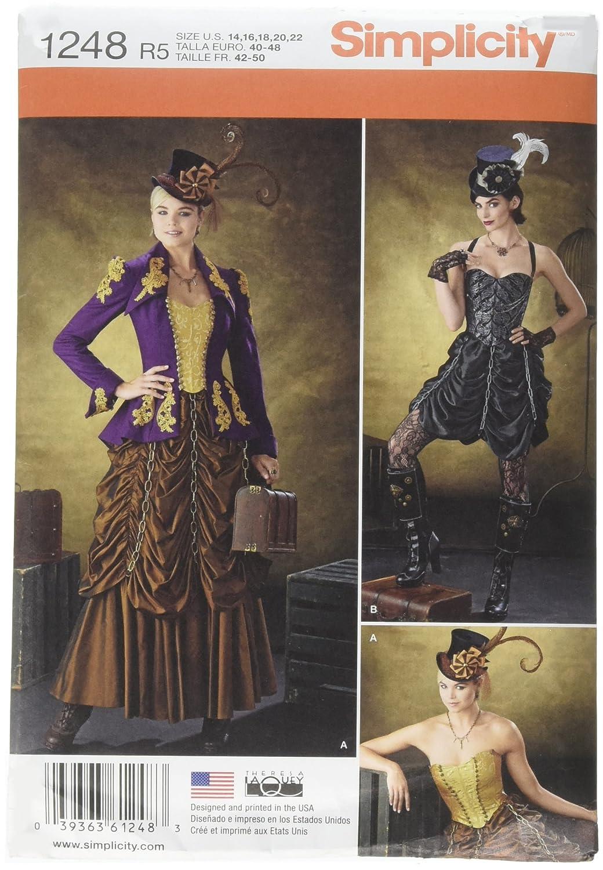 Simplicity 1248 taglia R5-Cartamodello per costumi da Carnevale, da cucire, stile Steampunk, colore