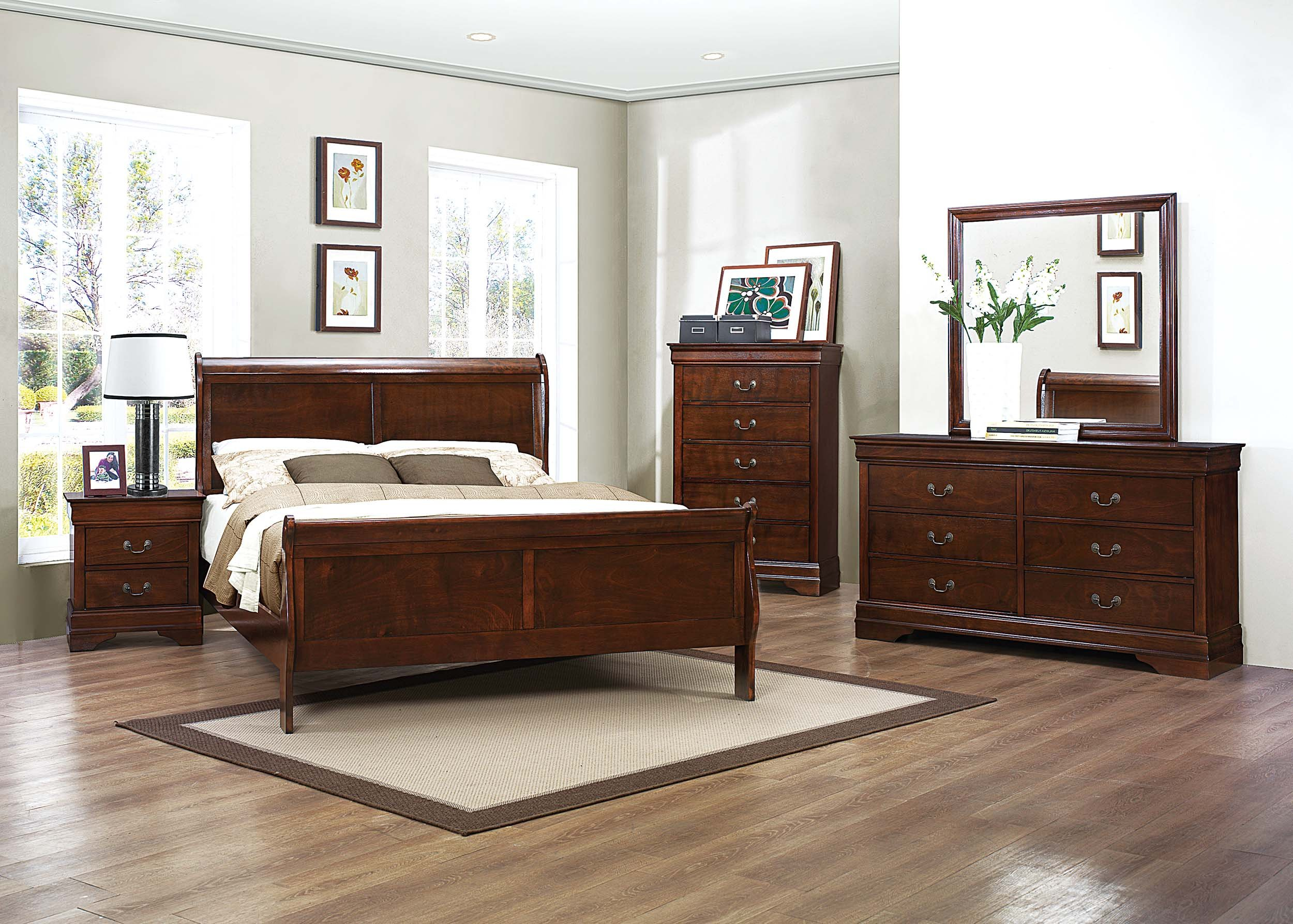 Homelegance Mayville Full Sleigh Bed Frame, Cherry by Homelegance (Image #2)