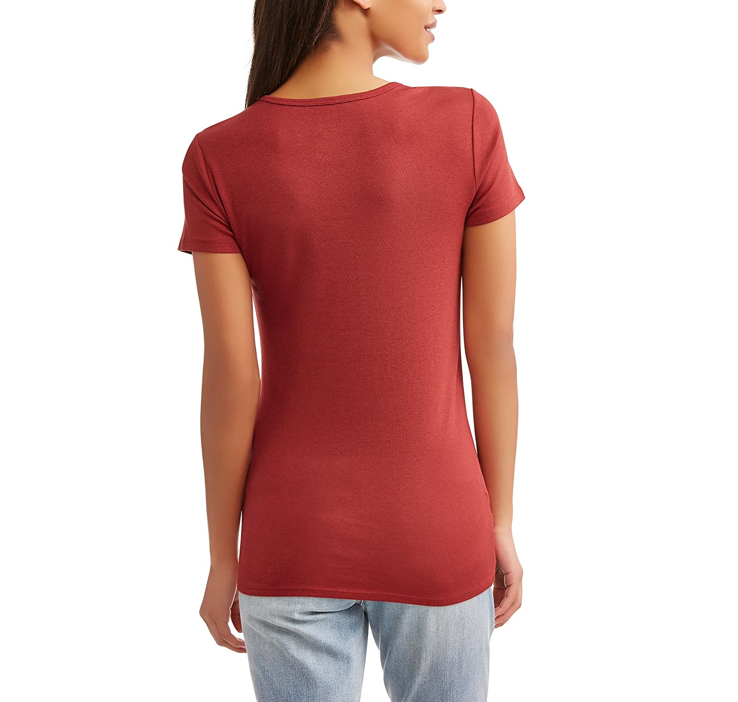 b85c43e8 TIME AND TRU Women Fitted Knit Top Size 2XL Solid Red Rum Short Sleeves  Crew Neck at Amazon Women's Clothing store: