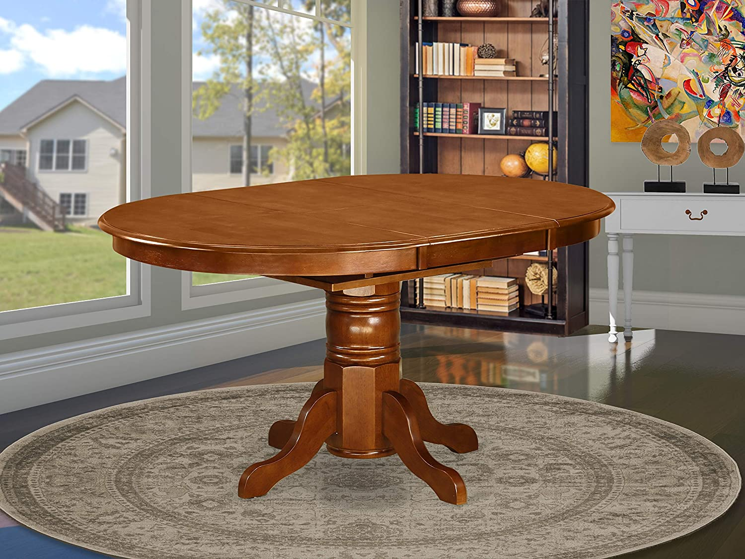 East West Furniture AVT-SBR-TP Oval 42/60-Inch Table with 18-Inch Butterfly Leaf, Medium, Saddle Brown Finish