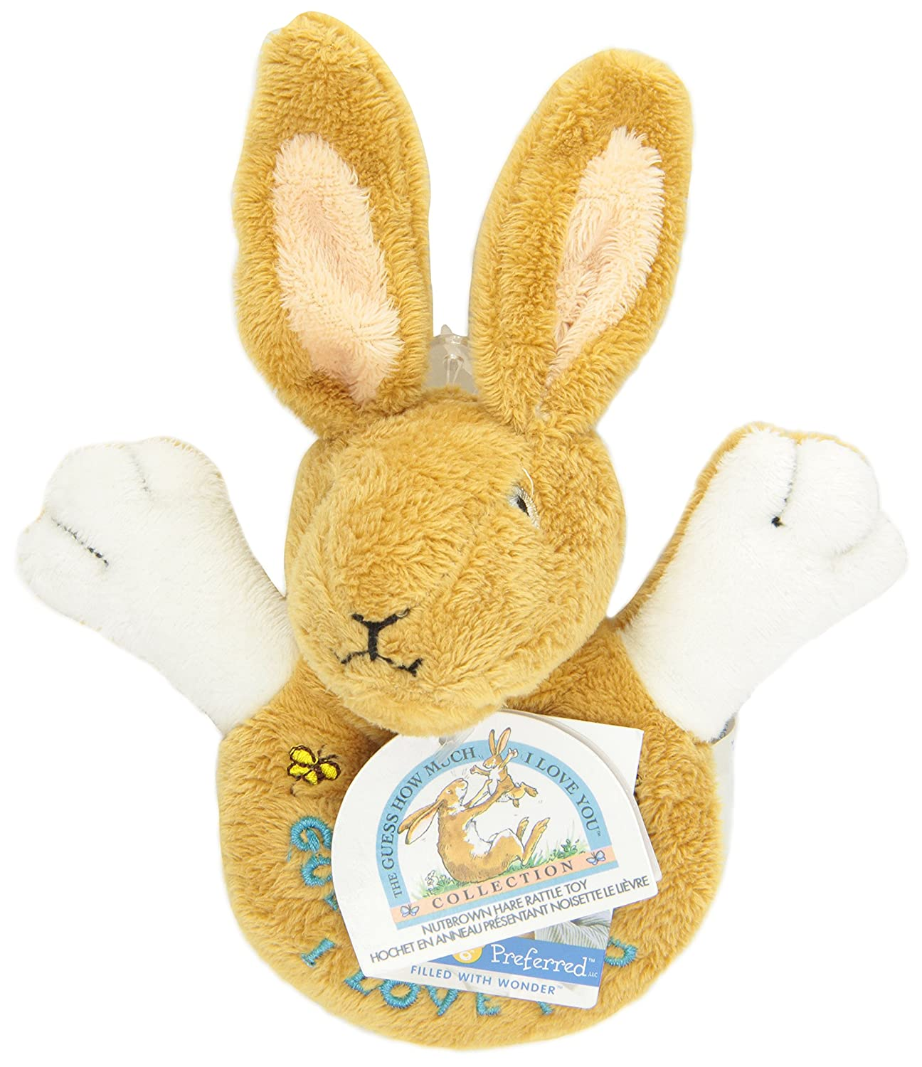 GUESS HOW MUCH I LOVE YOU HARE NUT BROWN PLUSH LOOP RING RATTLE BABY GIFT TOY
