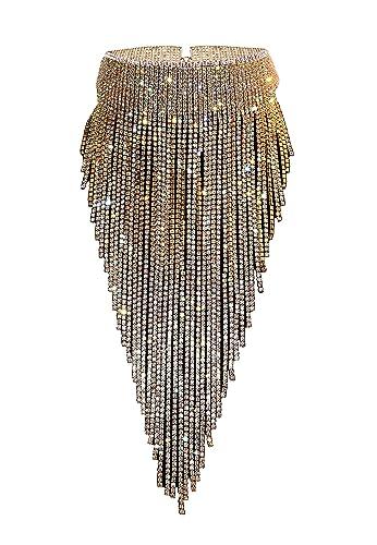 7643bca9c Amazon.com  Qiaose Stunning Rhinestone Choker Necklace Women Statement  Necklace Long Chain Necklace (Gold)  Jewelry