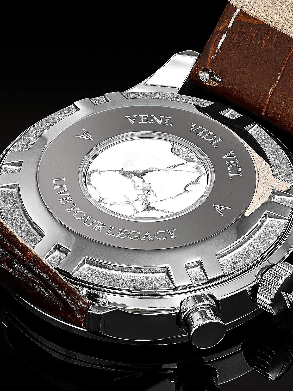b521bf14cb5 Montre bracelet de luxe Vincero Chrono S pour homme - Rose Or avec bracelet  en cuir marron - Montre Chronographe 43mm - Mouvement à quartz japonais   Vincero ...