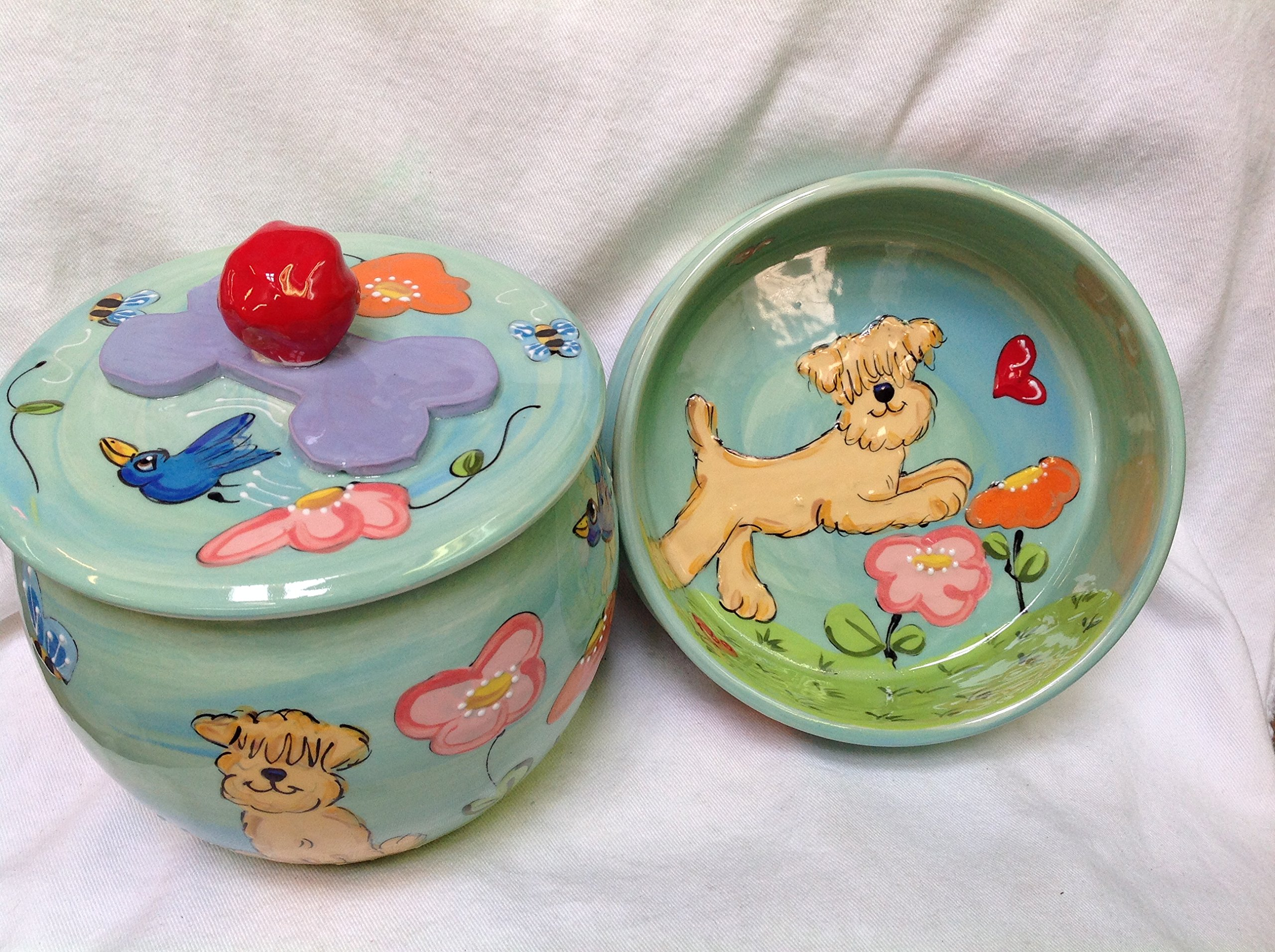 10'' Golden Doodle Pet Bowl for Food or Water and Treat Jar. Personalized at no Charge. Signed by Artist, Debby Carman.