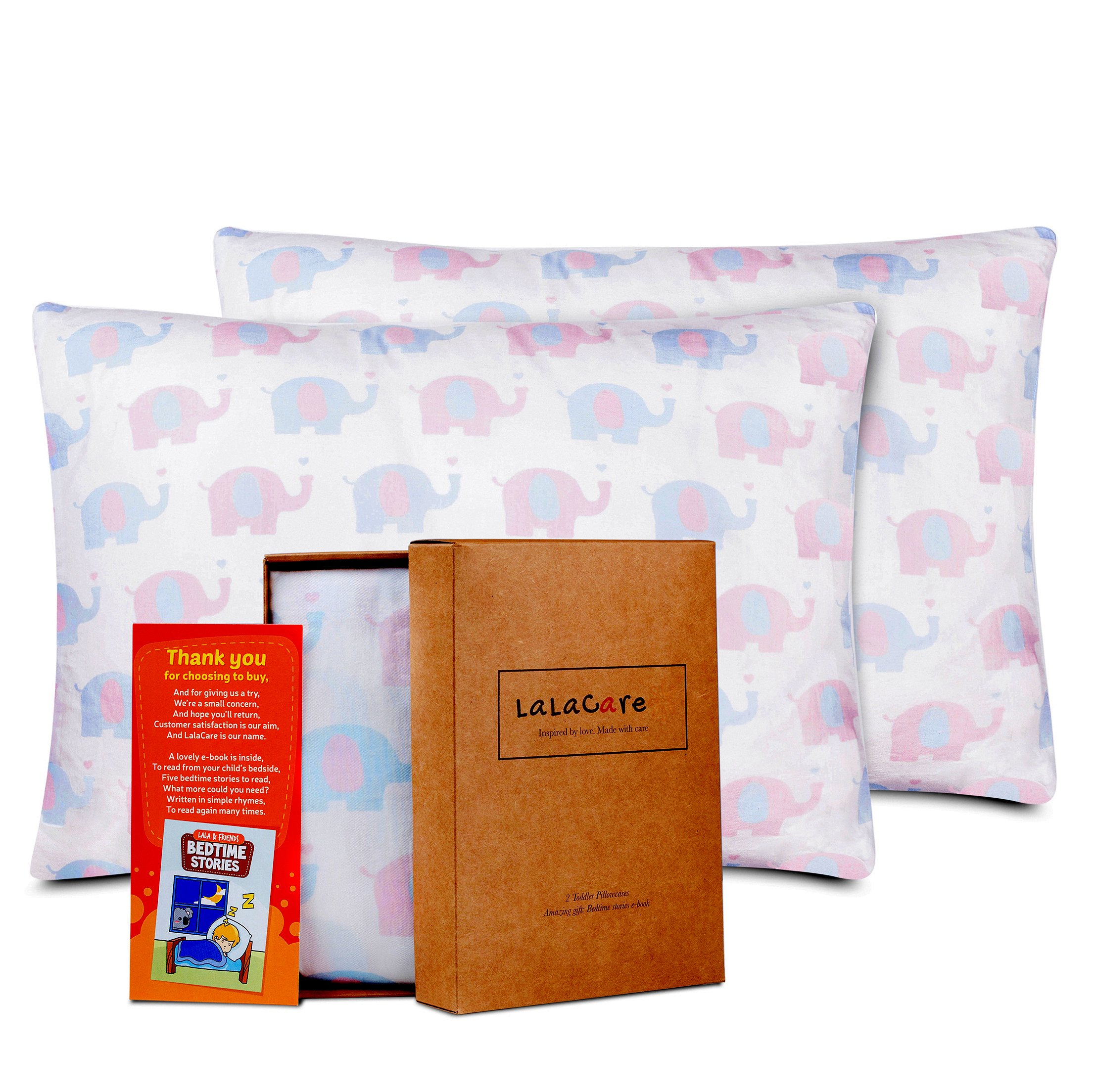 LaLaCare Kids Toddler Pillowcase 2 Pack, 100% Cotton Hypoallergenic/for Bedding and for Travel, Envelope Style, Fits Toddler Pillow Size 13X18 and 14X19 + Bedtime Stories eBook