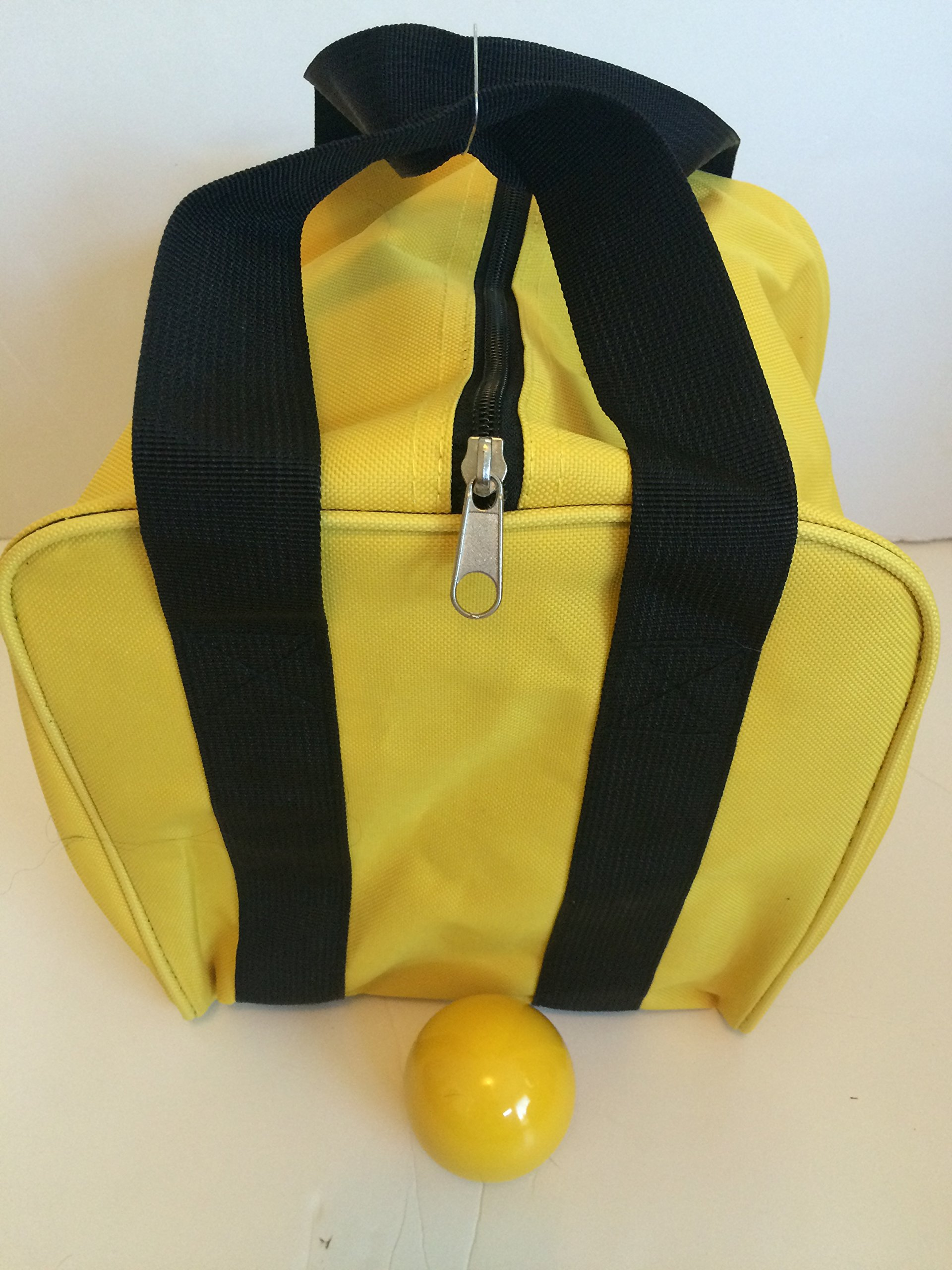 Unique Bocce Accessories Package - Extra Heavy Duty Nylon Bocce Bag (Yellow with Black Handles) and yellow pallina by BuyBocceBalls