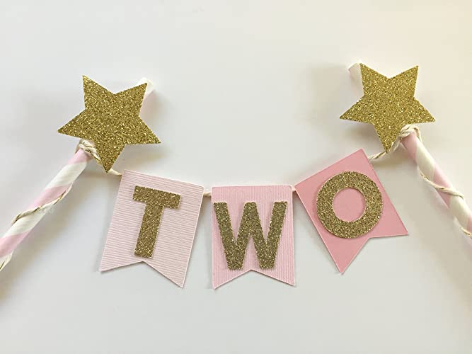 Amazon Pink Ombre And Gold Cake Topper For 2nd Birthday