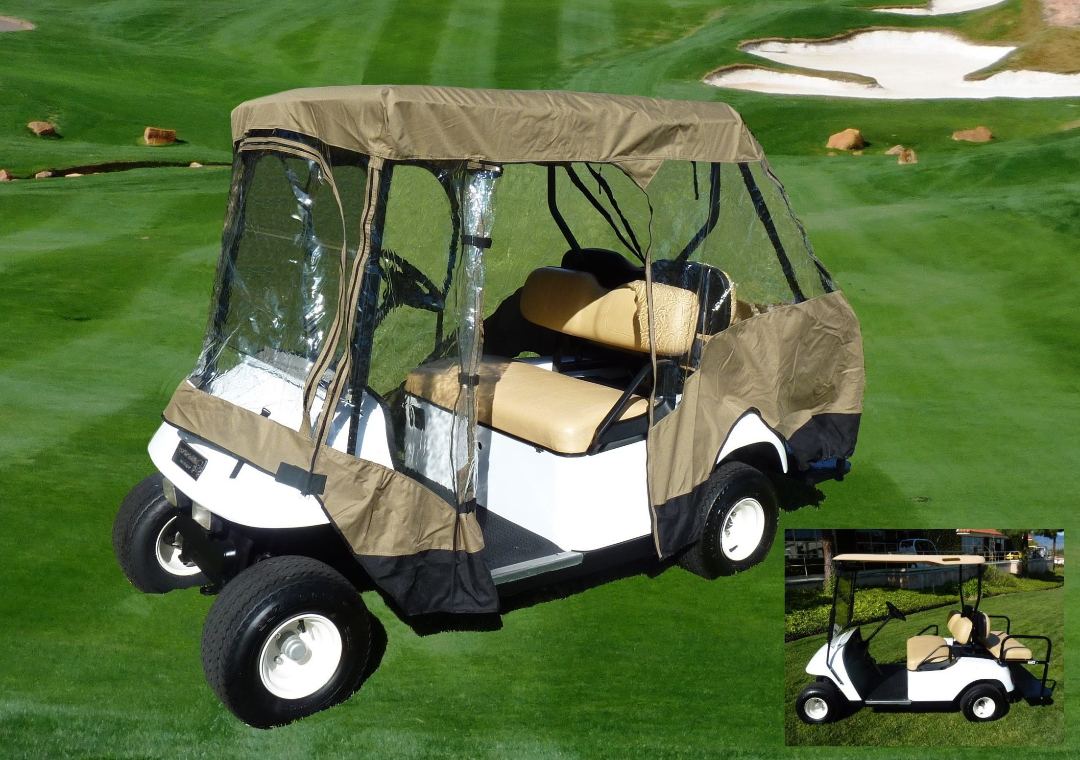 Premium Tight Weave Golf Cart Driving Enclosure for 4 seater with 2 seater roof up to 58''