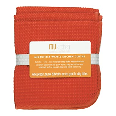 MUkitchen Microfiber Waffle Dishcloth, 12 by 12-Inches, Set of 3, Coral