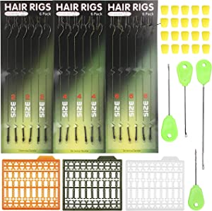 Fishing Carp Hair Boilie Rigs Kit – 45pcs Curved Barbed Carp Hook Braided Line Bait Stopper Needle Tool Scent Corn