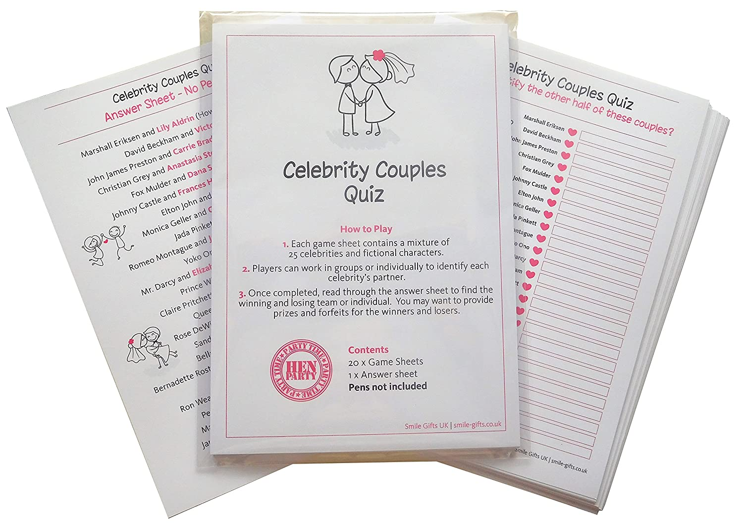 bbba222e9b3 SMILE GIFTS UK Hen Night Celebrity Couples Quiz Game including 20 Game Cards  (plus answer sheet)- Get your night going with Hen Party Games