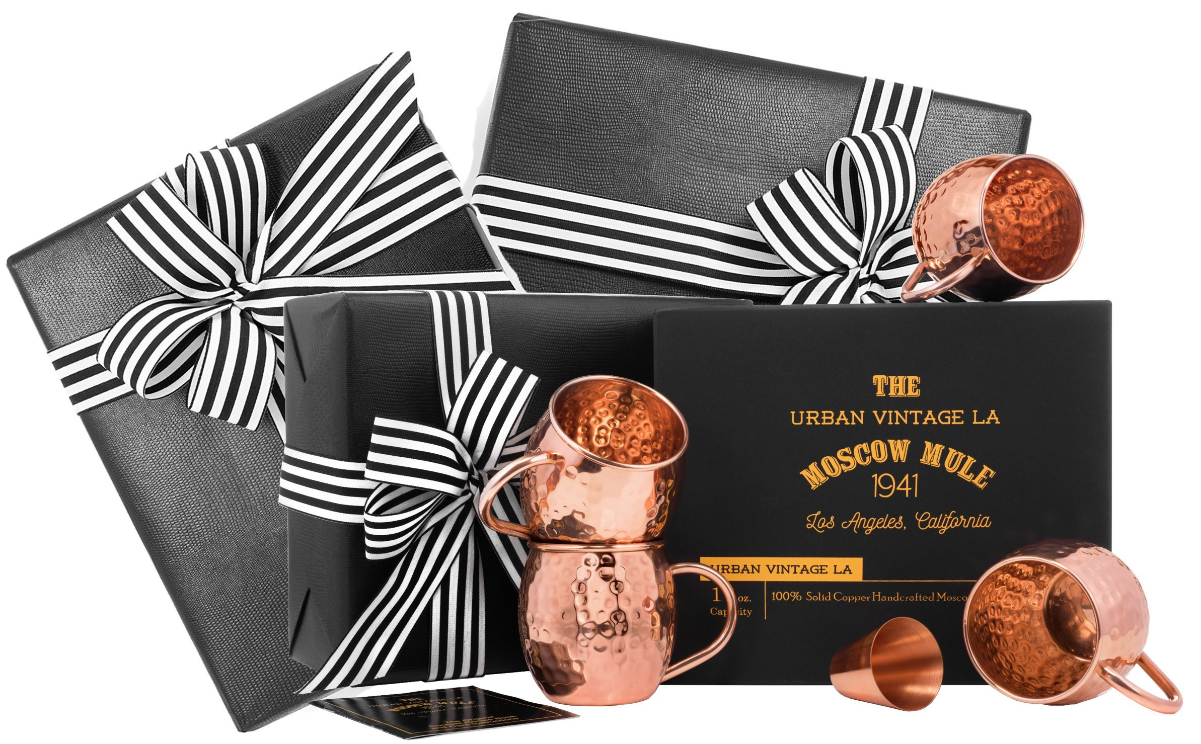 Gift Wrapped Moscow Mule Copper Mugs Set of 4, 100% Solid Copper, Handcrafted, Hammered, Heavy Gauge Copper Cups Gift Boxed with Shot Glass & Recipe Book, Premium Gift Set for Men, Women, Wedding, 7th