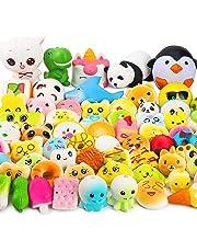 WATINC Random 60 Pcs Squishy Slow Rising Cream Scented Kawaii Simulation Lovely Toy Jumbo Medium Mini Soft Cute Party Favours for Kids , Phone Straps Birthday Gift