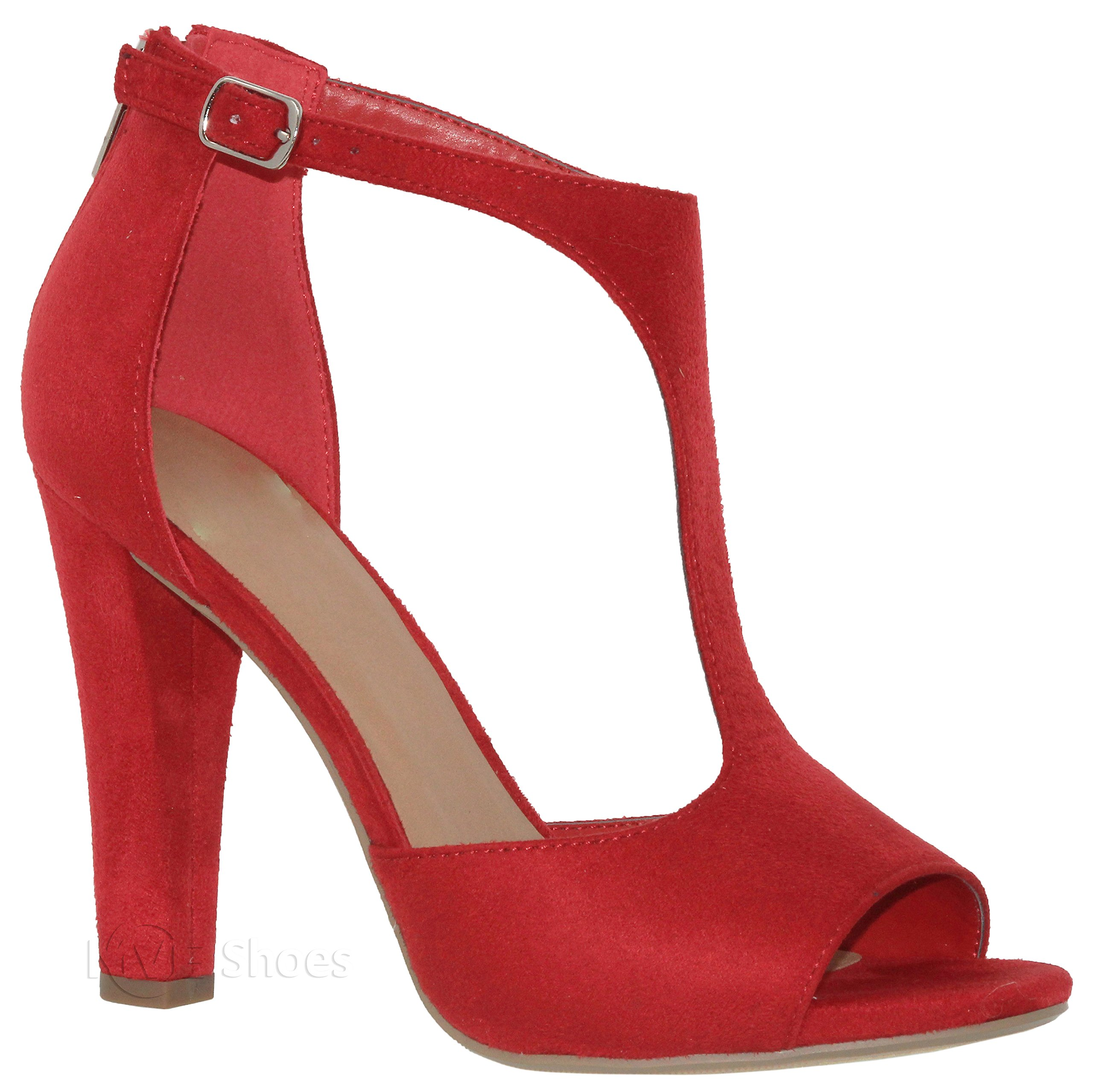 MVE Shoes Women's Open Toe T Starp Chunky Heeled Sandal - Sexy Syacked Heel - Cute Summer Ankle Strap Shoes, red su Size 10