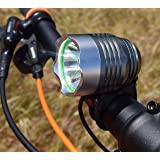 Go Bright Rechargeable 1200 Lumen Rechargeable Road, Mountain Bike Headlight, New 6400 mAh Battery-3 Plus Hours on High Beam with Free Taillight