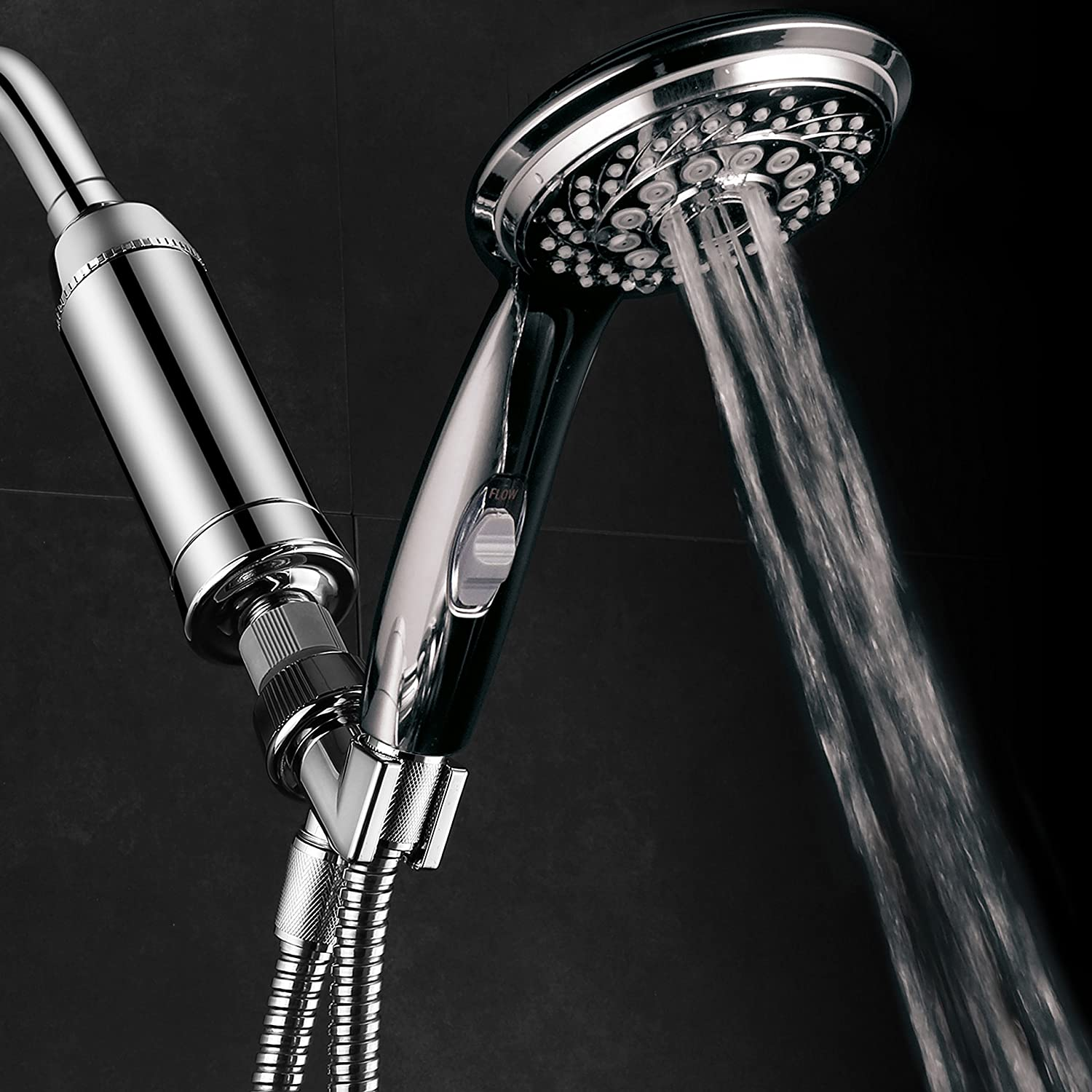 HotelSpa 7-Setting Handheld Shower with Patented ON/OFF Pause Switch and  Universal High Performance 2 Stage KDF/CAG Shower Filter with Disposable  Cartridge ...