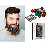 WICKED GIZMOS ® Set of 12 Multi Coloured Mini Christmas Beard Decoration Baubles with Hair Pins – The Classic Novelty Fun Festive Christmas Gift - Quick and Easy to Attach to Beard Moustache or Hair
