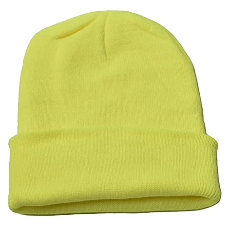 Woogwin Beanie Cap Winter Hats for Men Women Knitted Warm Hat Solid Color ( Fluorescent Yellow)  Amazon.ca  Luggage   Bags f49d6e574ac