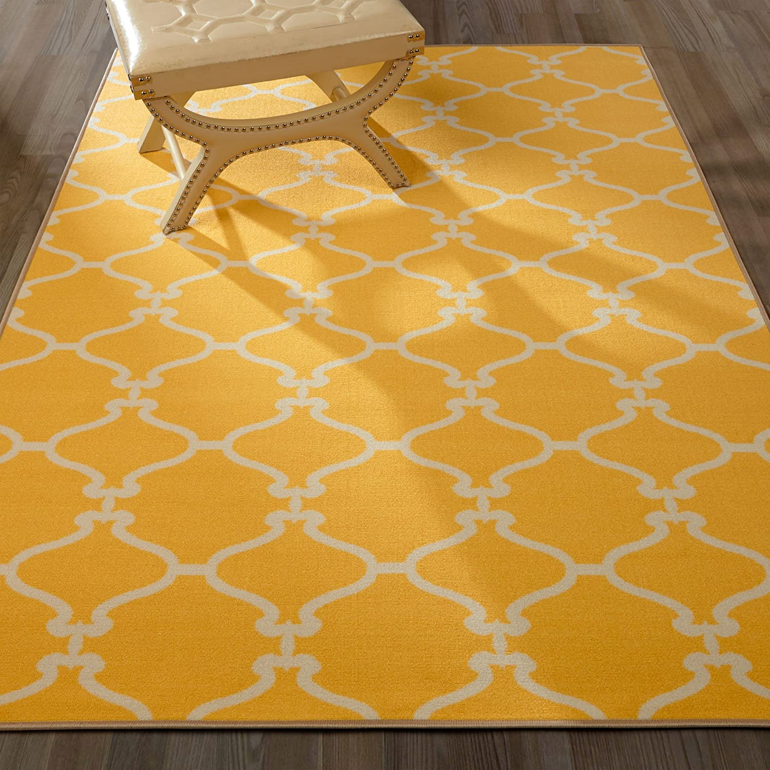 Trellis Area Rug Yellow Ivory 5x7 Lattice Carpet