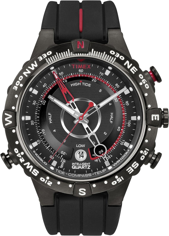 0a17422e1a82 Timex® T2N720 Reloj de cuarzos inteligentes para hombre con brújula de  mareas y temperatura con correa negra y estuche plateado  Timex   Amazon.com.mx  ...
