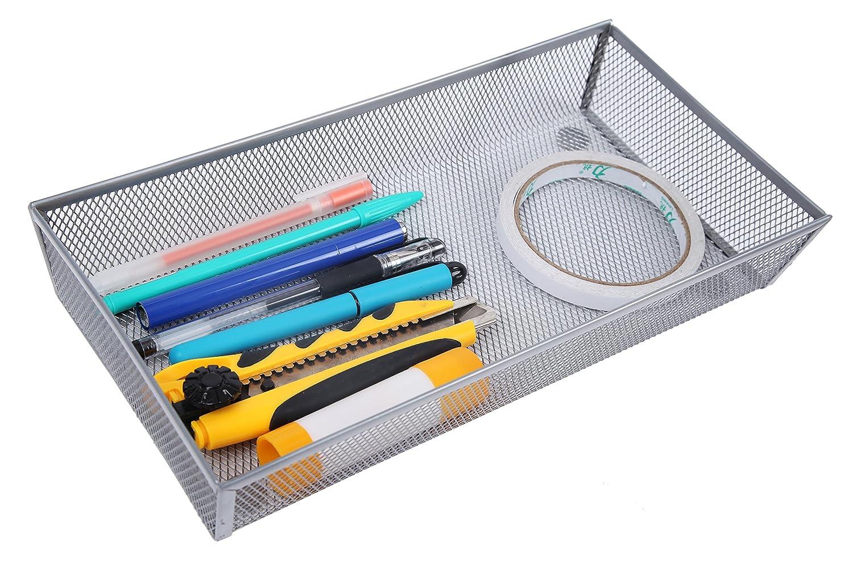 Finnhomy Mesh Drawer Organizer and Shelf Storage Bins School Supply Holder Office Desktop Cabinet Sliver 3 x 9
