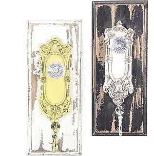 painted distressed wood vintage look ornate glass door knob wall hooks set of 2