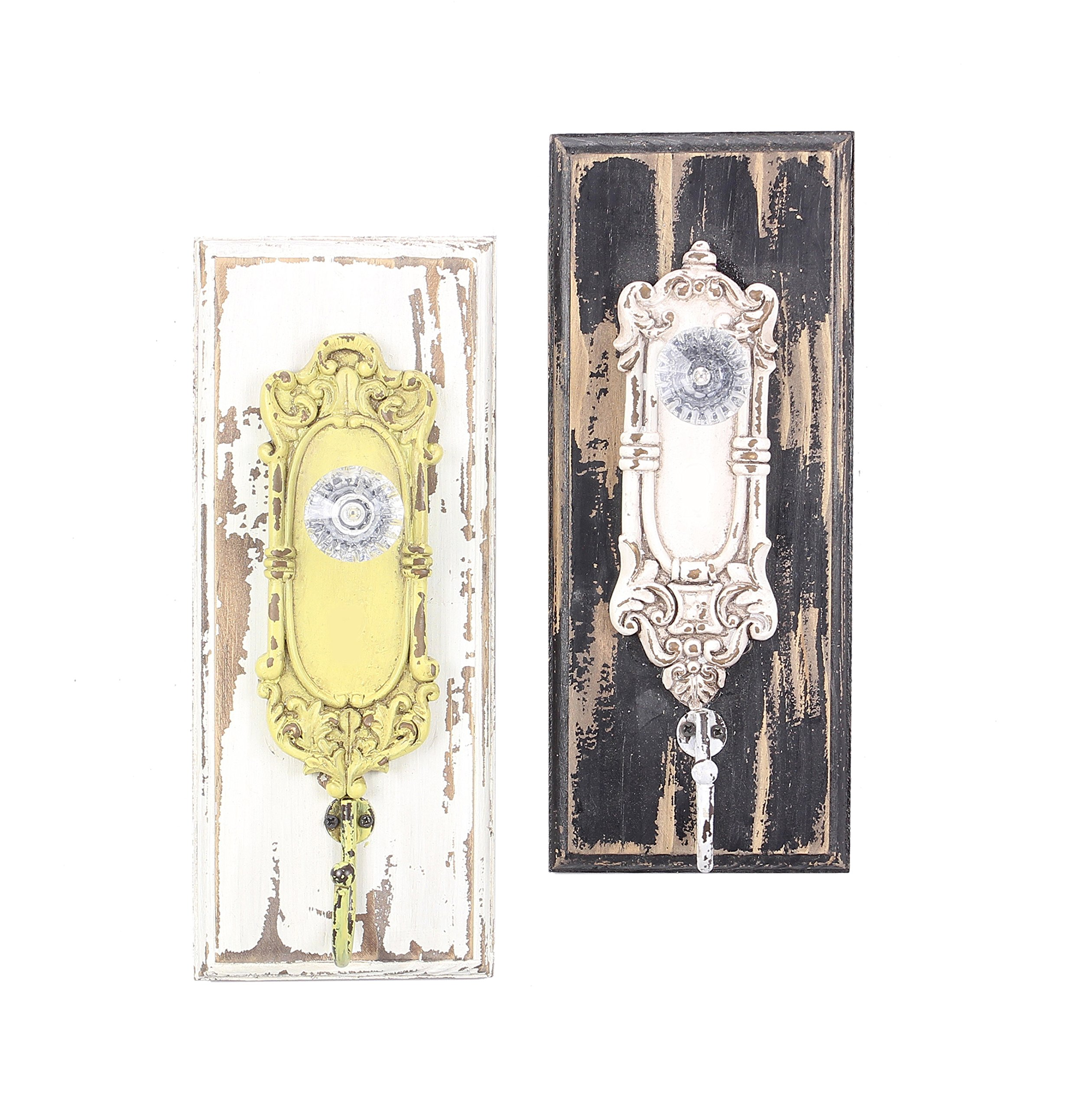 Young's Painted Distressed Wood Vintage Look Ornate Glass Door Knob Wall Hooks Set of 2,Cream, Yellow, Brown,One size