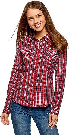oodji Ultra Mujer Camisa a Cuadros de Algodón